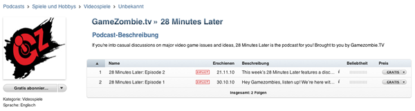 Podcast Game Zombie TV 28 Minutes Later