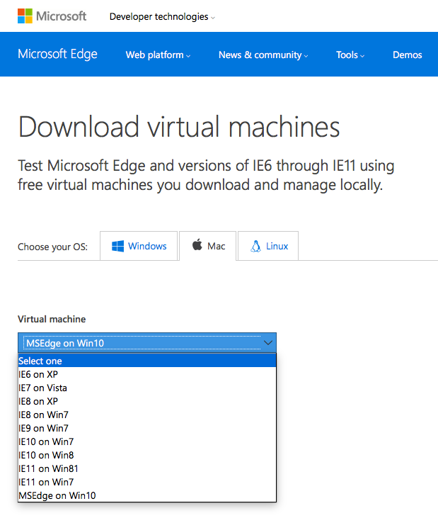 Virtual Machines for Microsoft Edge and Microsoft Internet Explorer, IE