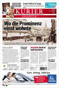 Cover der Kurier Online-Ausgabe vom Sonntag. 3. 4. 2011
