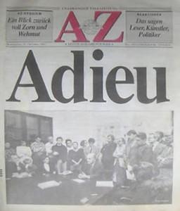 AZ Adieu. Cover der letzten Arbeiter-Zeitung vom 31. 10. 1991