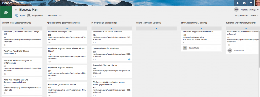 """Blogposts Plan"" im Microsoft Planner von Office 365"
