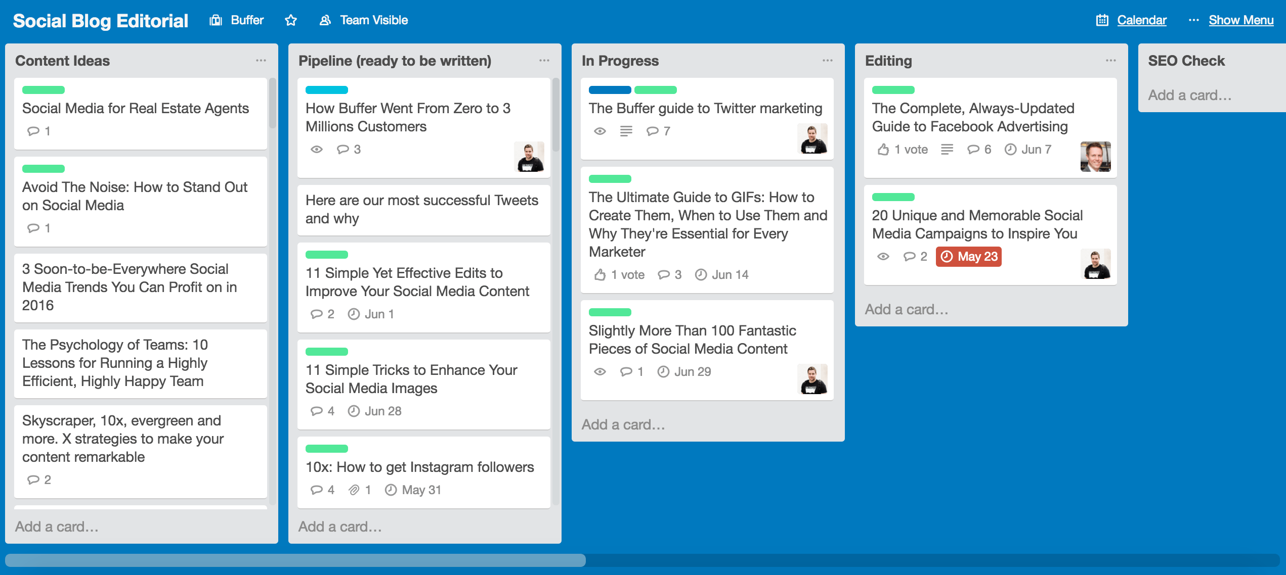 Trello-Board von Buffer